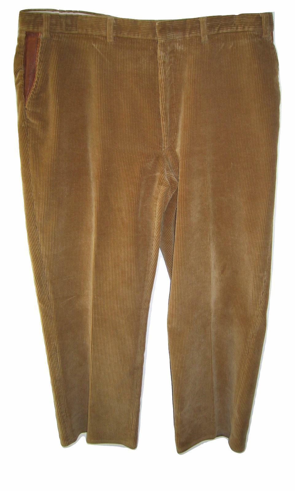 Mens ORVIS Corduroy Pants 41 Waist 27.5 Inseam Leather Trim Flat Front Tan