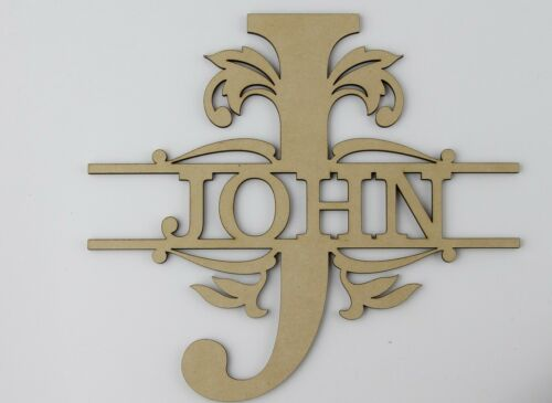 Personalised Splited Monogram Letters Craft Blank Shape Wedding Guestbook MDF 24
