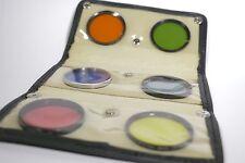 Foto Kamera Filter 55mm Konvolut Sammlung Farbfilter in B+W Ledertasche