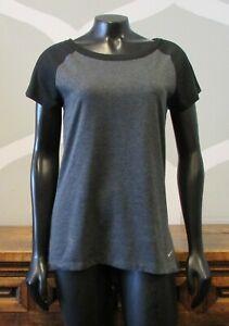 b13ed6f7 NIKE GOLF DRI FIT Women's Gray Black Back Zip Short Sleeve Athletic ...