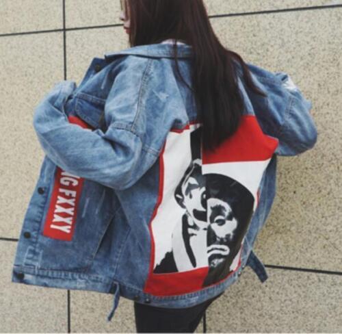 2019 Women BF Graffiti denim jacket boyfriend spring Denim jeans jacket coat