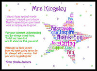 Thank You Teacher Christmas Star Gift Personalised Childminder Assistant Wordart