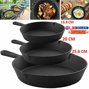 CAST IRON Non-Stick Frying Griddle Pan Barbecue Grill Fry Pan BBQ Skillet 25cm