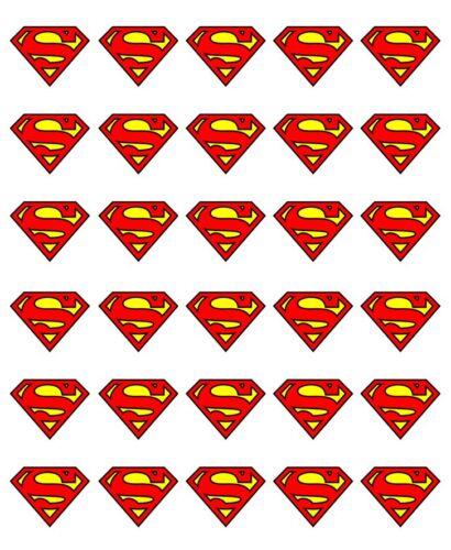 30x insignia con logotipo de Superman Magdalena Toppers Comestible Oblea Papel Hada Cake Toppers