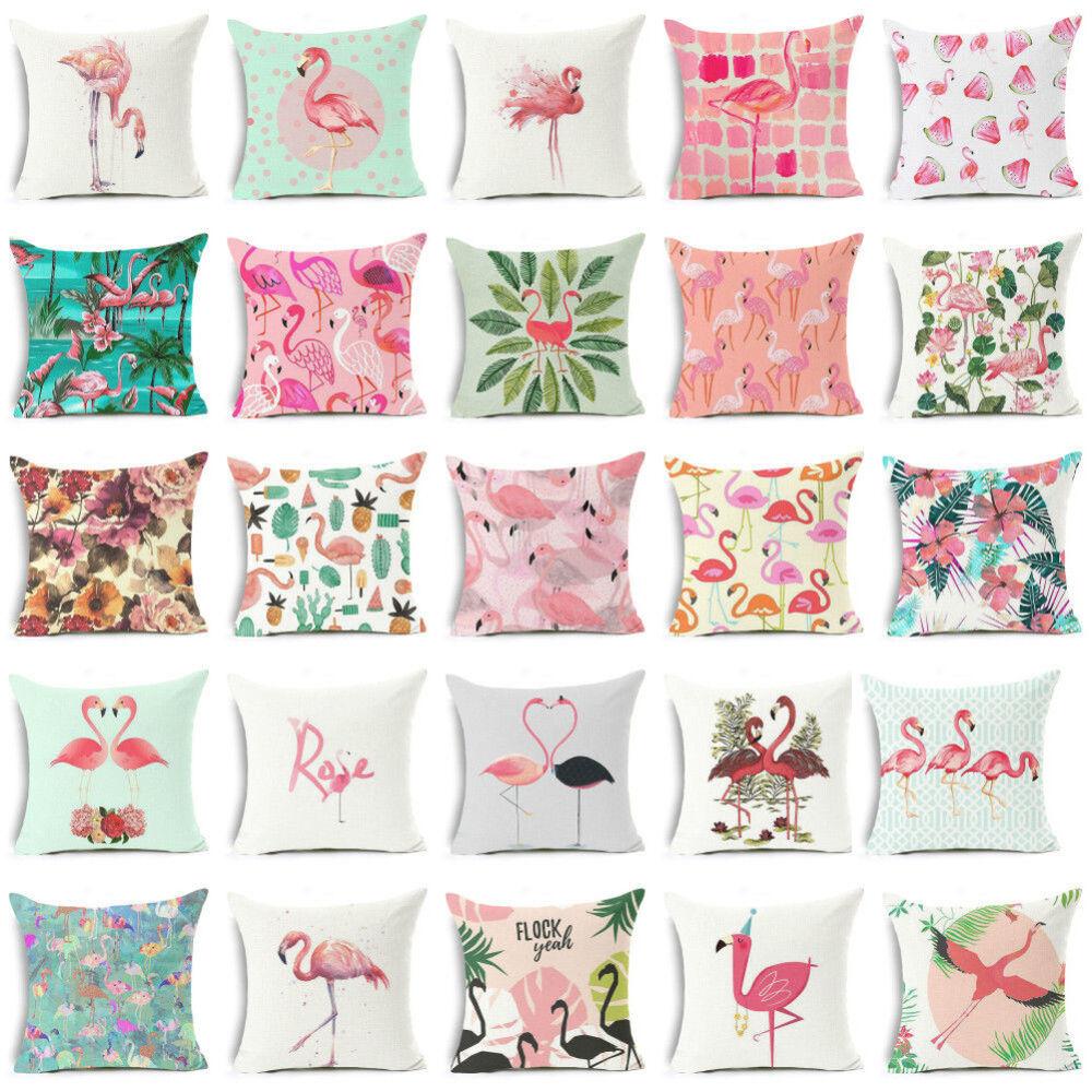 18inch linen flamingo flowers sofa cushion pillow
