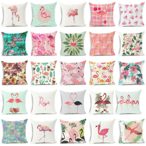 AU 18Inch Linen Flamingo Flowers Sofa Cushion ow Case Cover Home Decor Delu