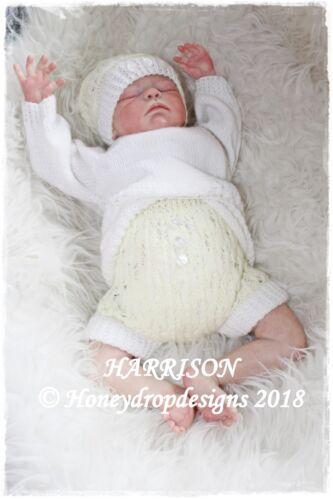 PAPER KNITTING PATTERN HARRISON Reborn//Baby 0-6 Months Honeydropdesigns