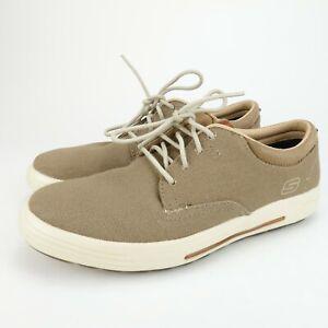 Skechers-Porter-Zevolo-Mens-Tan-Canvas-Oxford-Memory-Foam-Shoes-64943-Size-8-M