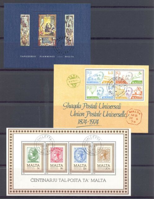 MALTA 9 DIF. BLOCKS USED  VF