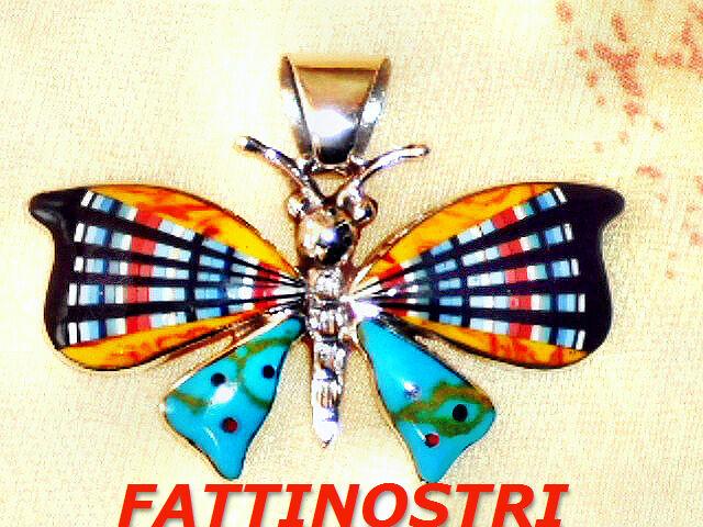 Indiani Indiani Indiani Gioielli Ciondolo Farfalla argentoo Gioielli in puro argentoo gioielli intarsio 7047db