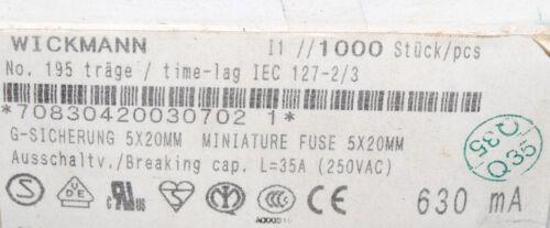 0.63A 630mA 250V 5x20mm time-lag Glass Fuse WICKMANN T 10pcs