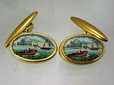 ART DECO GILT PICTURE OF HARBOR WITH BOATS AND PIER CUFF LINKS 1930'S CUFFLINKS