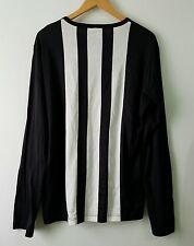 YOHJI YAMAMOTO Y-3 STRIPED DETAIL LONG SLEEVED SHIRT BLACK/WHITE  SIZE L