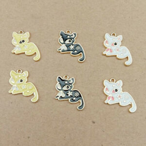 10 Pcs Enamel Rainbow Cute Cat Charms Pendants DIY Craft Jewelry Making Findings