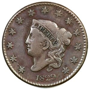 1829-N-3-R-3-Med-Letters-Matron-or-Coronet-Head-Large-Cent-Coin-1c
