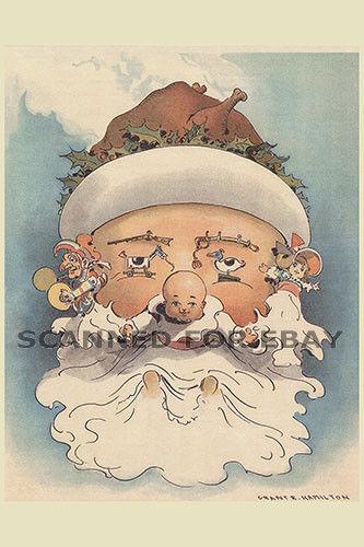 Christmas baby santa OPTICAL ILLUSION metamorphic art sketch drawing photo print