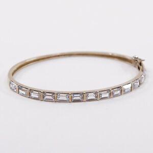7-Vtg-Gold-Over-Sterling-Silver-Hinged-Bangle-925-Bracelet-W-Emerald-Cz