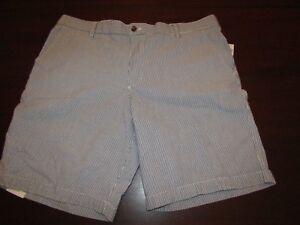 mens-izod-sandy-bay-seersucker-shorts-42-nwt-50-estate-blue-pinstripe