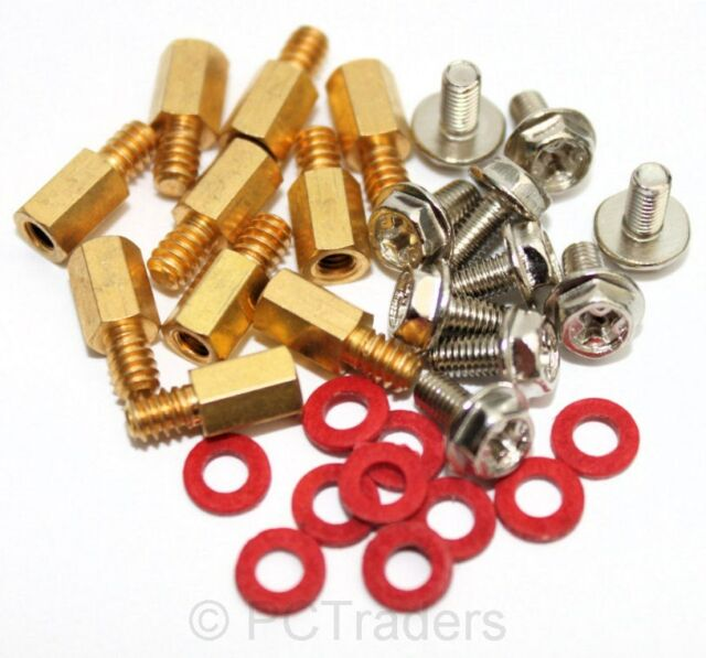 10x 6.5mm Brass Standoff 6-32 - M3 PC Case Motherboard Riser + Screws + Washers