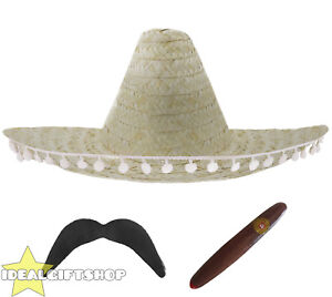 Caricamento dell immagine in corso Colore-Naturale-Sombrero-Messicano- Cappello-di-paglia-Pompon- 537e124e2e75