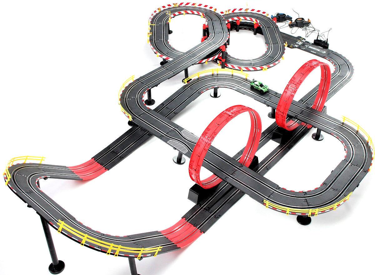 Elektronisch Rennbahn Autorennbahn 1430 CM Kinderrennbahnen Rundenzähler