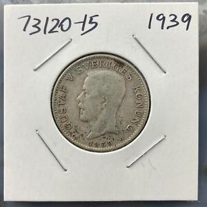 1939-Sweden-1-Krona-Gustaf-V-Sveriges-Konung-Collectible-Silver-Coin-73120-15