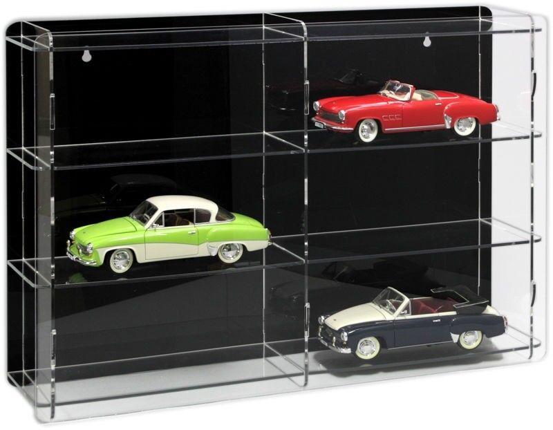 Sora voiture miniature vitrine 1 18 avec Noir Panneau arrière pour 6 Voitures de modèle