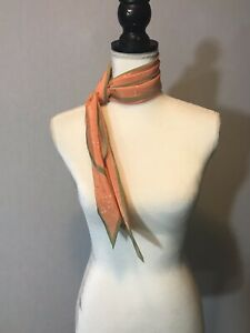 Vintage-Vera-Scarf-Angled-Ends-60-034-x-8-Art-Deco-Peach-Khaki