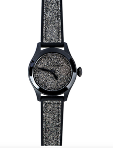 Toy-Watch-Women-039-s-Black-Glitter-Silicone-Strap-Watch-0476