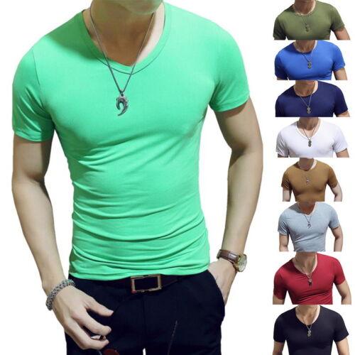Été Hommes O-Neck T-shirt à manches courtes solide Tops Gym Fitness Chemise Décontractée M-2XL