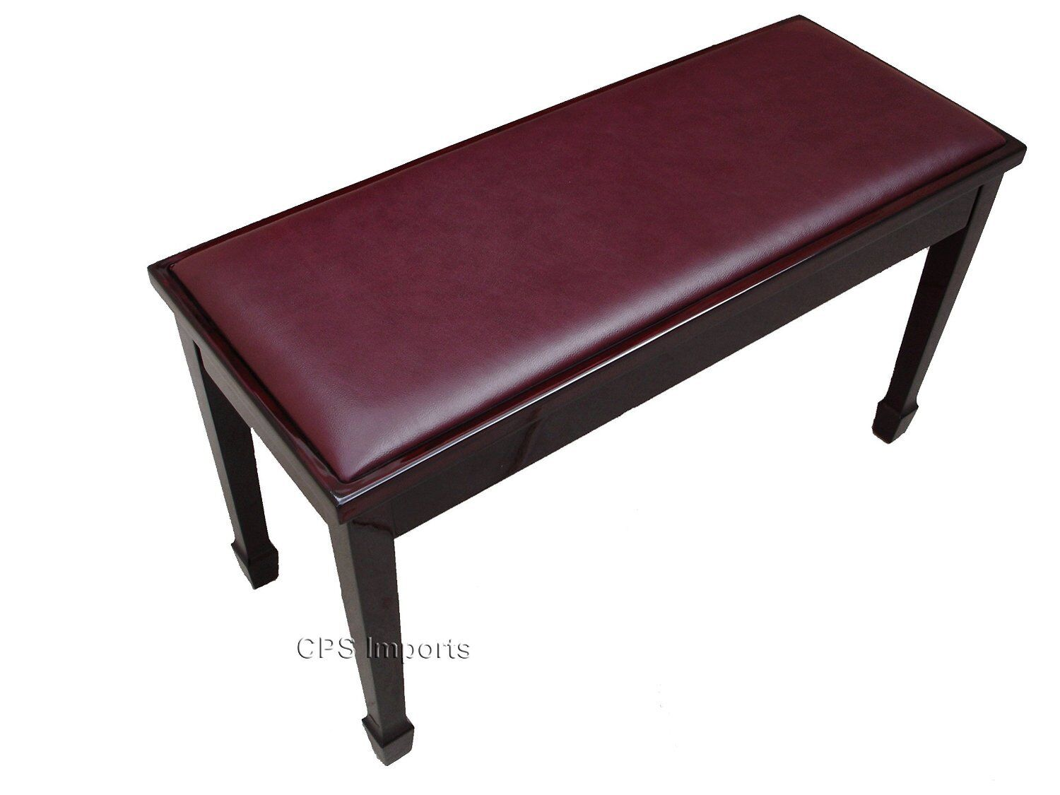 GENUINE LEATHER Mahogany Grand Duet Piano Bench Stool Chair