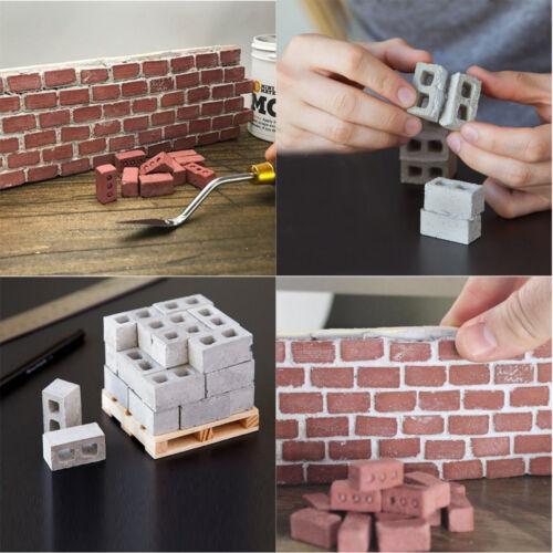 32Pcs Funny Mini Cement Cinder Bricks Build Play Tiny Wall Mini Red Bricks Toy