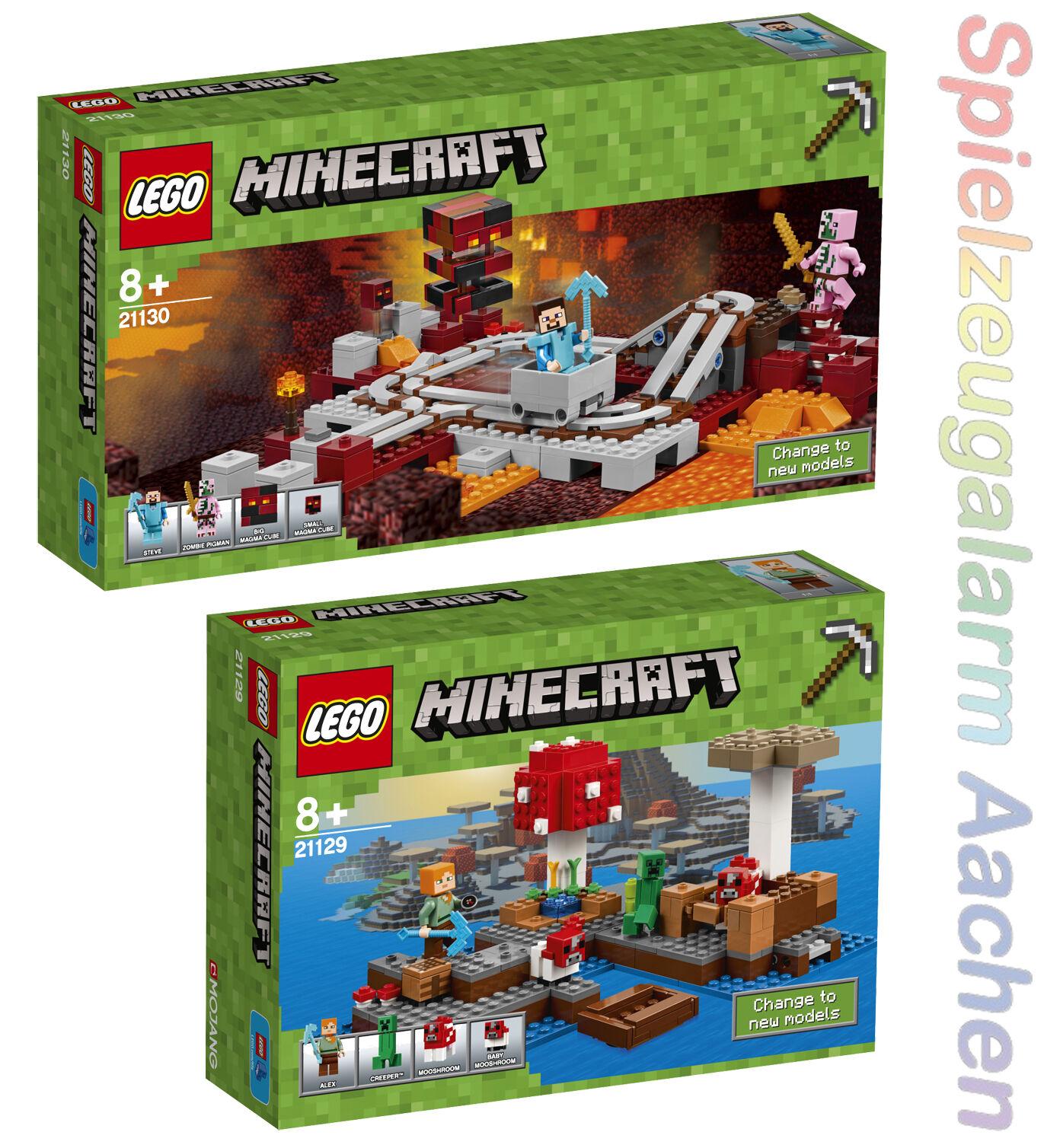 LEGO Minecraft 2Tlg Set 21129 21130 Die Pilzinsel Die Nether Nether Nether Eisenbahn Ale N5 17 8f32bf