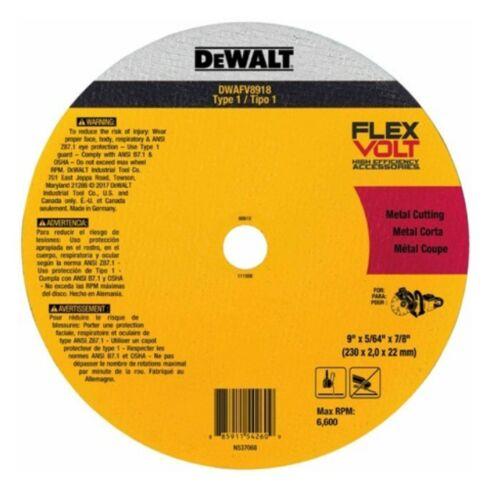"DEWALT DWAFV8918 9/"" X 5//64/"" X 7//8 T1 FLEXVOLT CUTOFF WHEEL"
