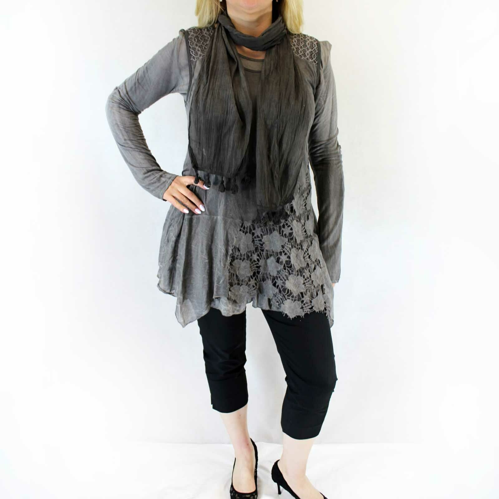 NEW Jessica Taylor Plus Charcoal Lace Overlay Sheer Scarf Tunic Blouse 3X