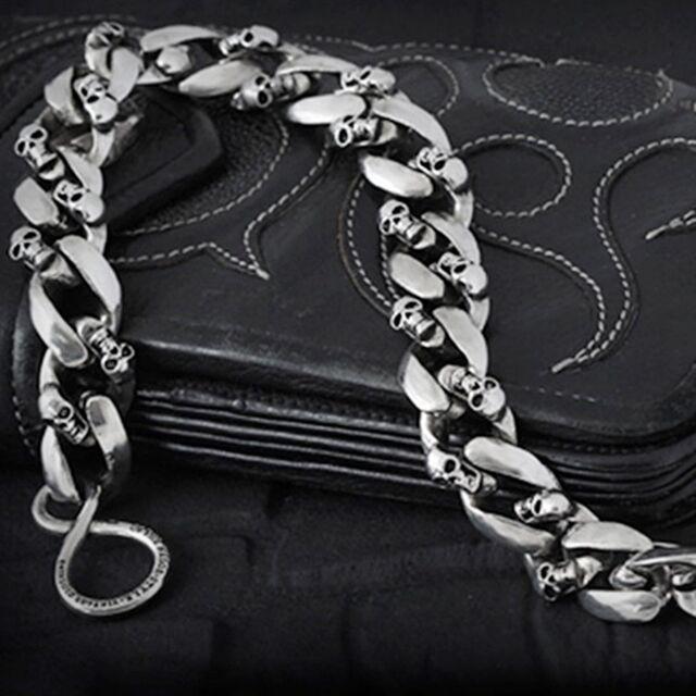 "Guntwo Mens Korean Fashion Jewelry Skull 15"" Compact Jean Wallet Chain C3345 US"