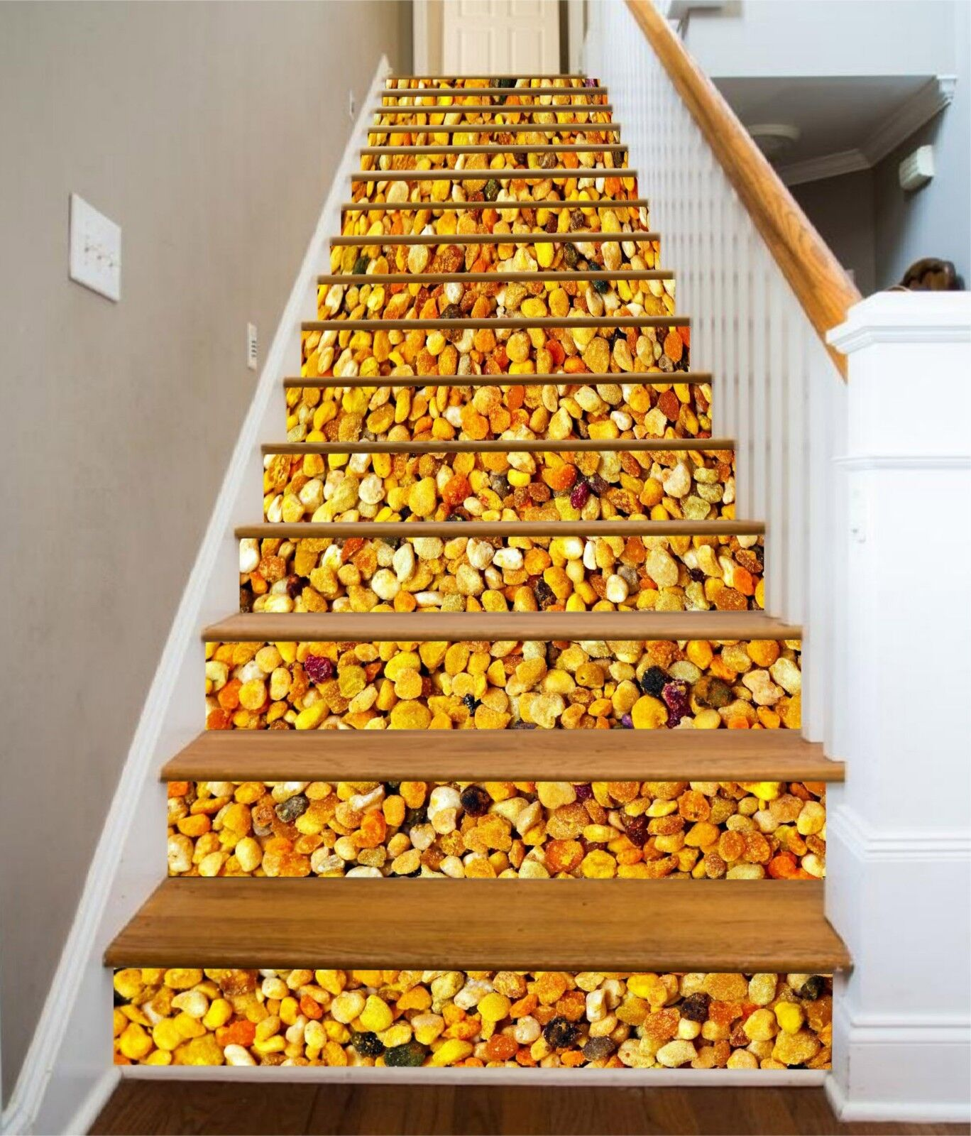 3D Gravel Pattern Stair Risers Decoration Photo Mural Vinyl Decal Wallpaper UK