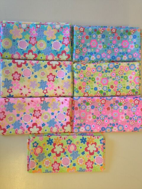 FUNKY FLOWER POWER HIPPIE 6 DIFFERENT PATTERNS - PRINTED POLYCOTTON FABRIC 60,S