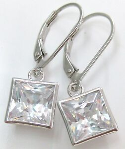 """Jewelry & Watches Girl Hospitable 925 Sterling Silver """"8mm Square Bezel Cz Drop"""" Lever Back Bridal Earrings Bridal & Wedding Party Jewelry"""