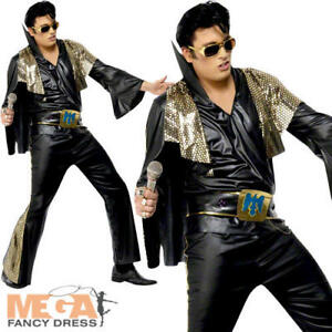 Image is loading Elvis-Presley-Celebrity-Men-039-s-Fancy-Dress-  sc 1 st  eBay & Elvis Presley Celebrity Menu0027s Fancy Dress 1950s-60s Party Adult ...