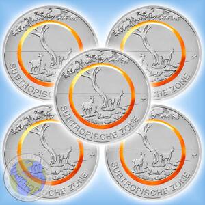 5x 5 Euro Deutschland 2018 Subtropische Zone Komplettsatz Adfgj