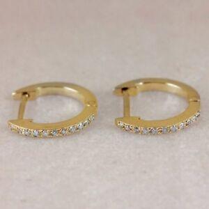 Single-Piece-Solid-14k-Yellow-Gold-Diamond-Pave-Huggie-Hoop-Earrings-Jewelry