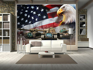 US Eagle Flag Tank Army Acting Prepasted Wallpaper Wallcovering Home Decor Mural Muurposters