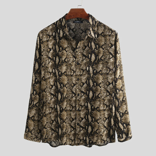 Men/'s Slim Fit Long Sleeve Leopard Printed Shirt Casual Party Collar Tops Blouse