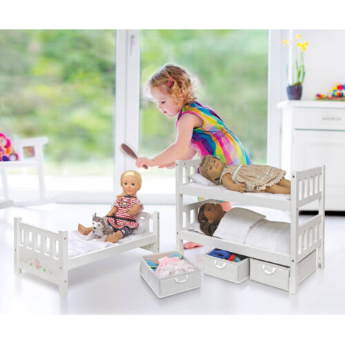 18 Doll Bunk Bed Convertible With Storage Baskets Stackable American Girl