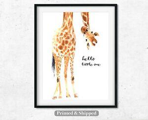 Girafe-Bonjour-Petit-Imprime-pepiniere-print-wall-art-Qualite-Lin-Blanc-Papier