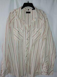 Ben-Sherman-Mens-Western-Style-Shirt-Size-XXXL-3XL-Long-Sleeve-Plaid-Pearl-Snap