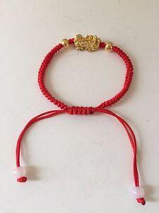 Image Is Loading Feng Shui Red String Bracelet With Little Golden