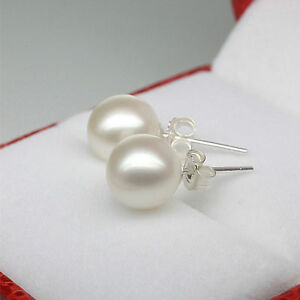 Lovely-Silver-Plated-White-Freshwater-Cultured-Jewelry-Pearl-Stud-Earrings