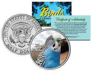 BLUE PARAKEET BIRD JFK Kennedy Half Dollar US Colorized Coin